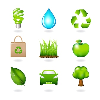 Элементы экологического дизайна и значки изолированные