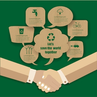 Eco design- handshakes go to save the world. green and sustainable concept