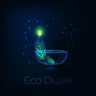 Концепция eco diwali с футуристической низкой полигональной лампой diya и зелеными листьями на синем.