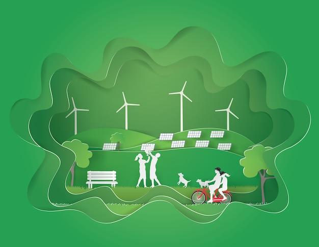 Эко земной день и природа концепции с зеленым городом в зеленой пещере, стиль бумаги ремесла.