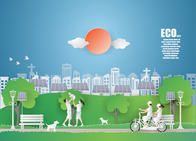 Eco earth day and world environment day with green city.