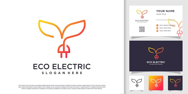 Eco electric logo template premium vector