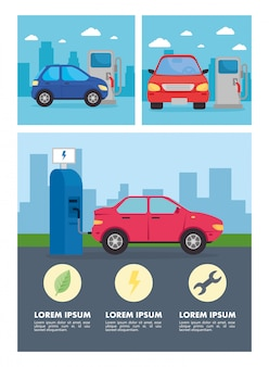 Eco electric station with blue and red car at city vector design