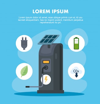 Eco electric station with solar panel and icon set vector design