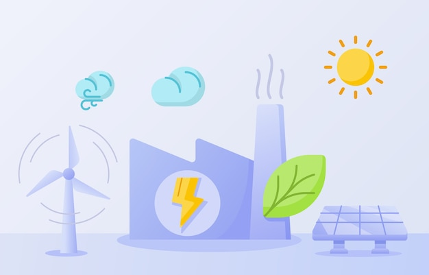 에코 에너지 공장 개념 녹색 잎 건물 굴뚝 승리 태양 에너지