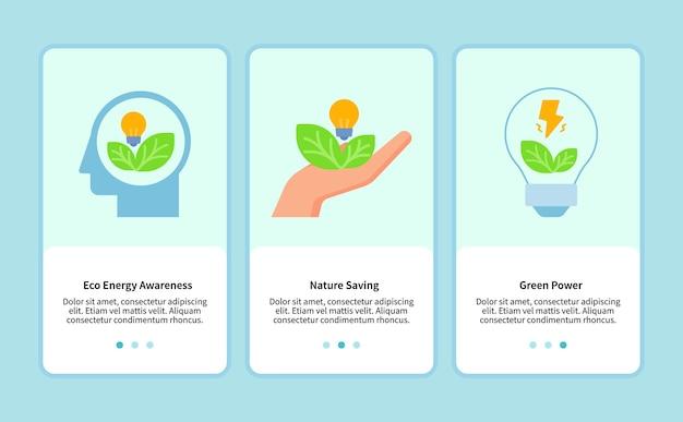 모바일 앱용 에코 에너지 템플릿 ui 웹