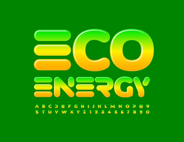 Eco energy futuristic gradient alphabet letters and numbers techno style font