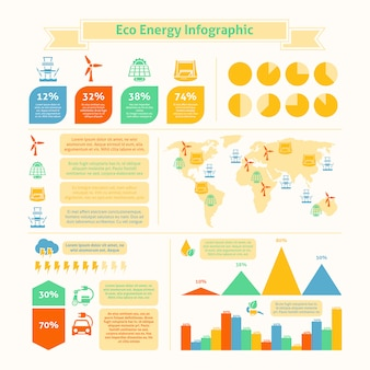 Eco energy infographic template print
