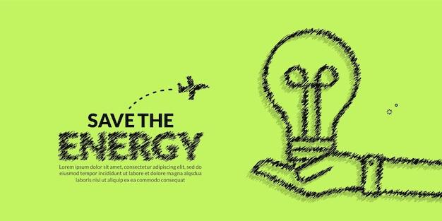 エコ省エネと世界のテンプレートを保存します緑の背景に電球の植物を手で保持します