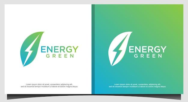 葉のロゴデザインベクトルとエコエネルギー Premiumベクター