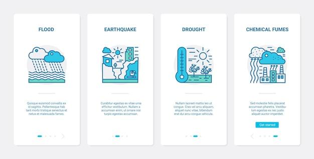 생태 환경 문제, 재난 생태 재앙. ux, ui 온 보딩 모바일 앱 세트 자연 생태학 격변, 홍수 지진 가뭄 화학 연기 기호