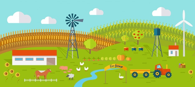 Eco farm conceptual vector in flat style design.