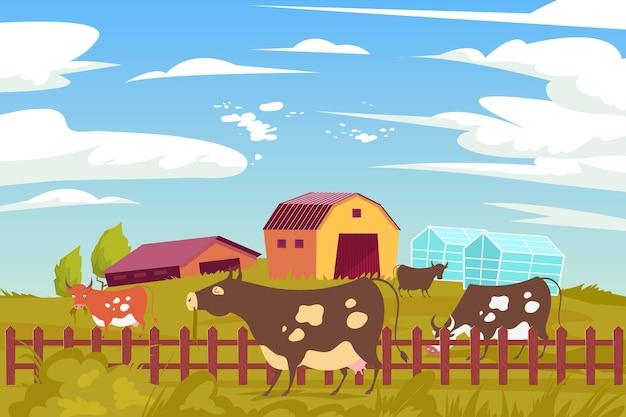 Composizione piana di mucca da fattoria ecologica con paesaggi all'aperto e animali al pascolo pacifici con serre di edifici agricoli
