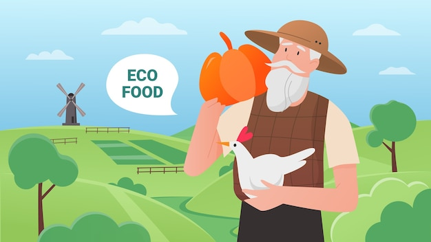 Эко-ферма, мультфильм фермер, держащий тыкву и курицу, стоящий на зеленом поле