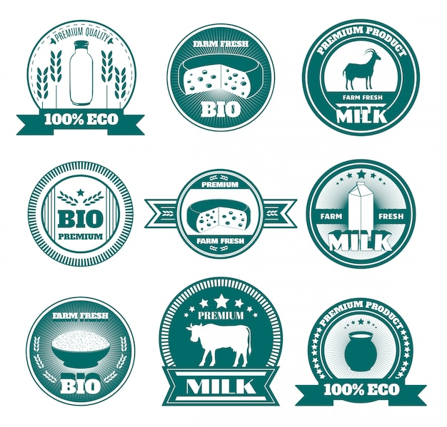 Eco farm milk dairy products emblems
