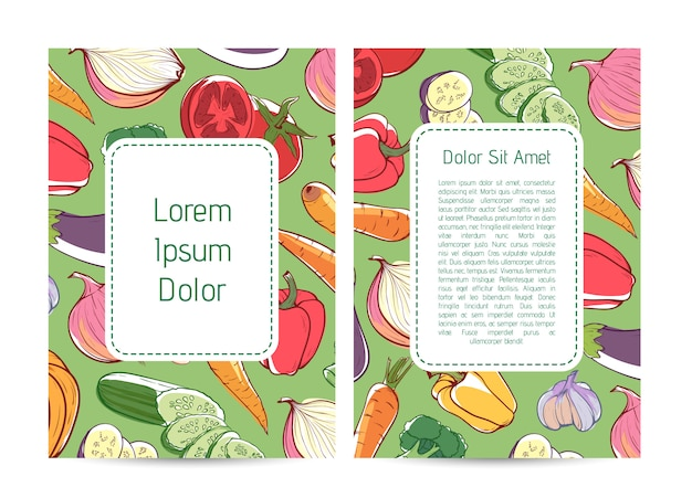 Eco farm products advertising flyer with vegetables