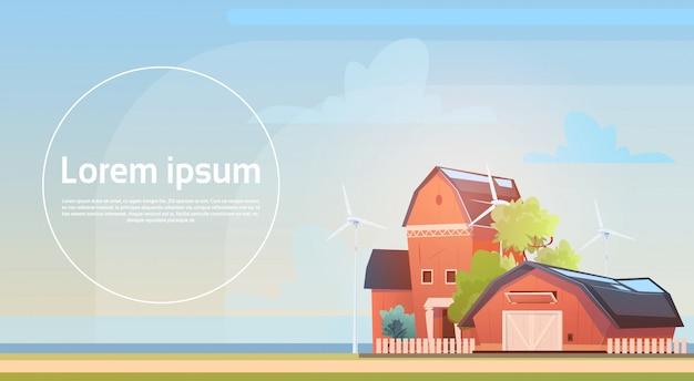 Eco farming, farm house, farmland countryside landscape with wind turbine renewable energy station