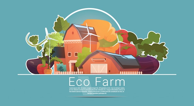 Eco farming, farm house, farmland with wind turbine renewable energy station