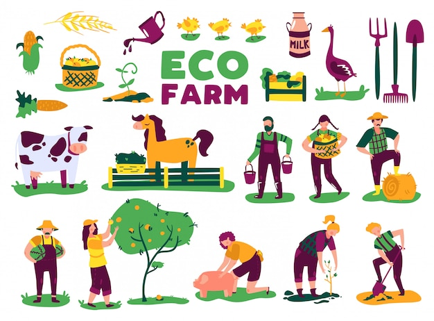 Eco farming harvest set with isolated images of farm animals plants and doodle characters of people vector illustration