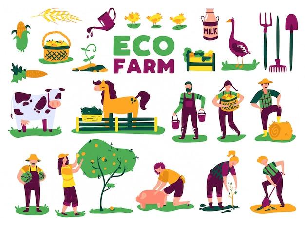 L'insieme del raccolto di agricoltura di eco con le immagini isolate delle piante di animali da allevamento e i caratteri di scarabocchio della gente vector l'illustrazione