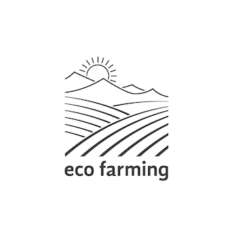 線形フィールドとエコ農業のロゴ。田舎の夏のシーン、エコ旅行、農学、国境の概念。フラットスタイルのトレンドモダンなロゴタイプクリエイティブグラフィックデザインベクトルイラスト白地に