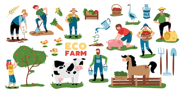 Eco farming set of isolated images with plants farm animals equipment and doodle characters of people vector illustration