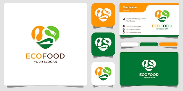 Эко-еда любовь логотип и здоровая пища логотип. комбинированная ложка, вилка, нож, в форме сердца и листа