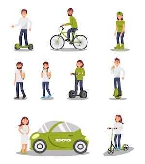 環境にやさしい代替輸送車両セット、現代の電気自動車、スクーター、自転車、セグウェイに乗る人々、健康的でアクティブなライフスタイルのイラスト
