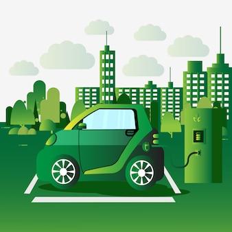 Зарядка электромобиля на станции eco friendly auto concept