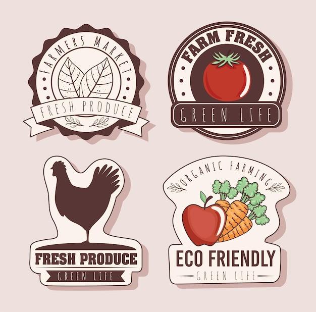 Набор экологически чистых значков