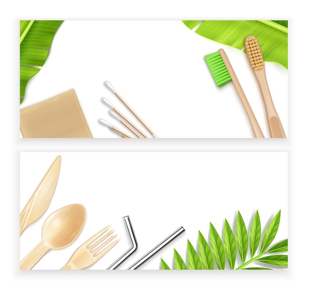 Eco friendly bath and kitchen supplies banners