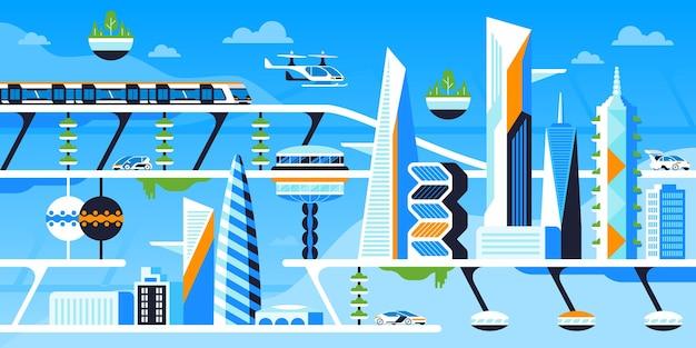 에코 친화적인 도시 평면 벡터 일러스트 레이 션. 미래의 도심, 지속 가능한 대도시. 인프라 혁신, 생태학적으로 안전한 기술 만화 개념. 미래 지향적인 건축과 교통