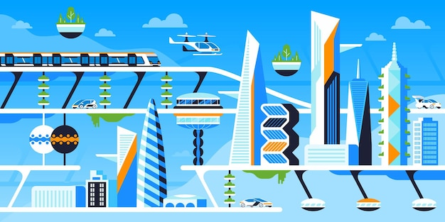Eco friendly city flat vector illustration. future downtown, sustainable metropolis. infrastructure innovation, ecologically safe technology cartoon concept. futuristic architecture and transport