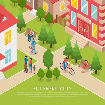 Eco friendly city isometric illustration
