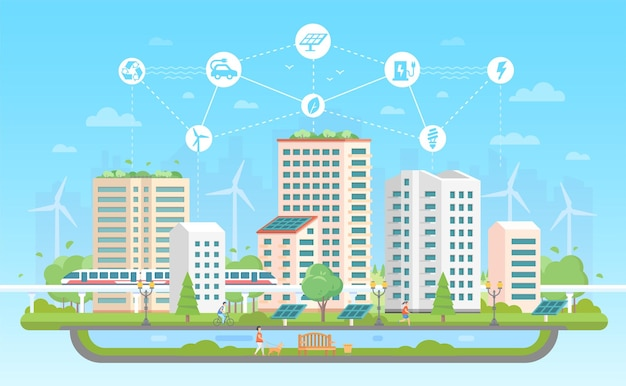 Eco-friendly city - modern flat design style vector illustration on blue background with a set of icons. a landscape with skyscrapers, fountain, people, pond, train. recycling, saving energy concept