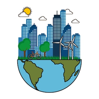 Eco friendly city with wind turbines bike and half of planet earth design vector illustration