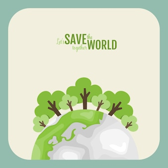 Eco friendly. ecology concept with green eco earth and trees.  illustration.