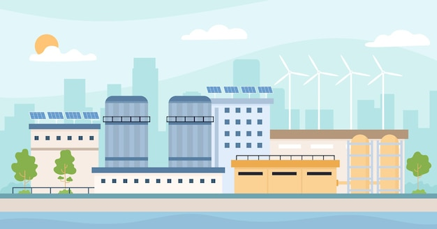 Eco friendly factory. landscape with plant, solar panels, windmills and trees. clean energy industry and environment ecology vector concept. save technology with alternative energy
