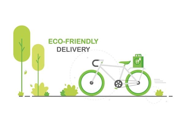 Экологичная доставка еды на зеленом велосипеде