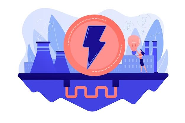 環境にやさしい地熱再生可能エネルギープラントと電球