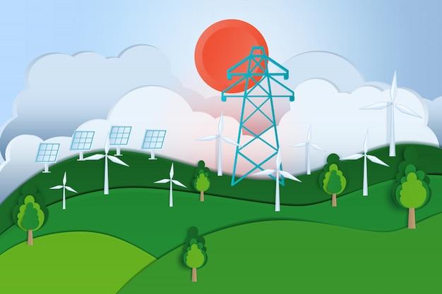 環境にやさしい、緑豊かな街と再生可能エネルギーの概念。