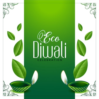 Eco friendly green diwali background with leaves