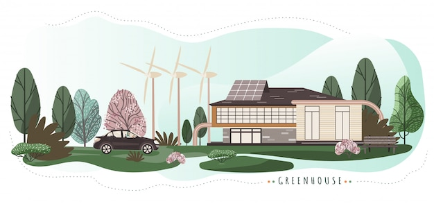 Eco friendly house with modern technologies, illustration