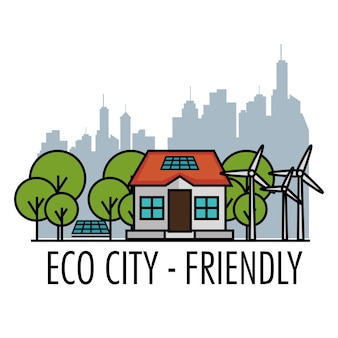 Eco friendly house with trees wind turbines solar panels and city skyline design over white backgrou