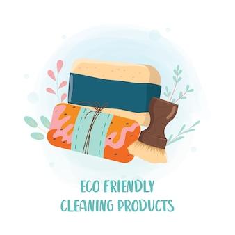 Набор экологически чистых бытовых чистящих средств. концепция движения без отходов. сбор средств для мытья посуды и ванных комнат. нетоксичный чистящий блок с натуральными ингредиентами.