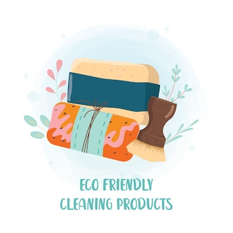 Eco friendly household cleaning products set. zero waste movement concept. dishwashing and bathroom cleaning collection. nontoxic cleaning block with natural ingredients.