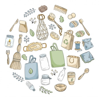 Eco friendly icon set in a circle