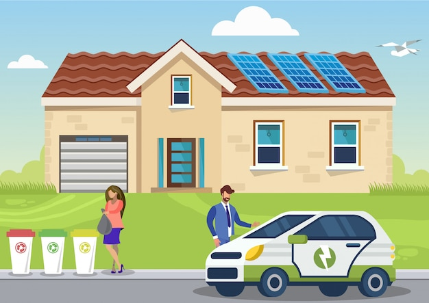 Eco-friendly lifestyle flat vector illustration