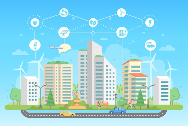 Eco-friendly lifestyle - modern flat design style vector illustration on blue background with a set of icons. a cityscape with skyscrapers, fountain, people, road. recycling, saving energy concept