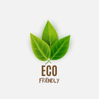 Eco friendly logo with green leaves